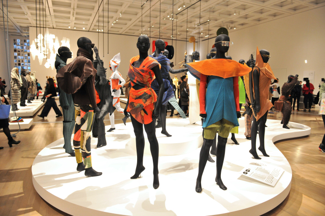 Inside the Issey Miyake Exhibition at the National Art Center in Tokyo.
